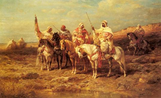 Arab-Horsemen-by-a-Watering-Hole